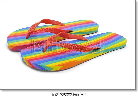 e7fdc6d47c71 Free art print of Rainbow flip-flops. A pair of rainbow flip-flops on a white  background