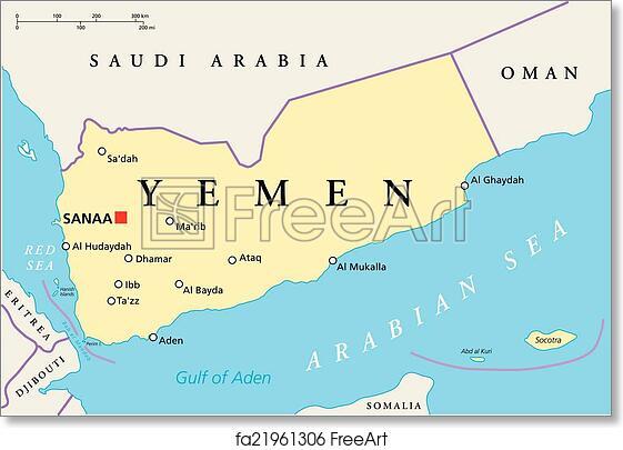 Political Map Of Yemen.Free Art Print Of Yemen Political Map Yemen Political Map With