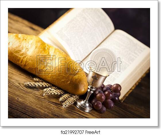 free art print of holy communion bread wine freeart fa21992707