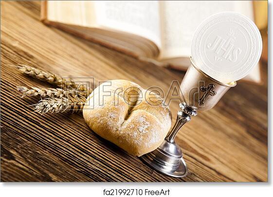 free art print of holy communion bread wine freeart fa21992710