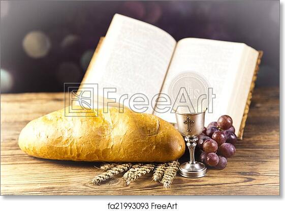 free art print of holy communion bread wine freeart fa21993093