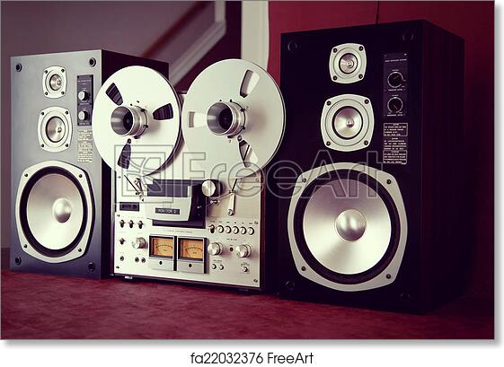 2d59c044894f Free art print of Analog Stereo Open Reel Tape Deck Recorder Vintage with  Speakers | FreeArt | fa22032376