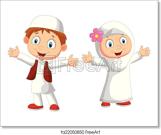 free art print of happy muslim kid vector illustration of happy muslim kid freeart fa22050850 free art print of happy muslim kid