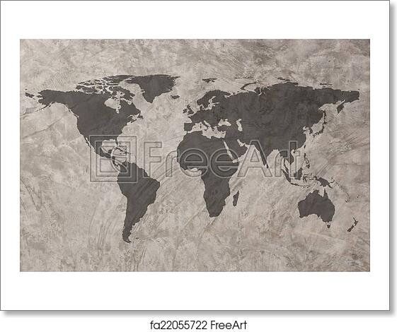 Free art print of world map on grunge concrete wall texture free art print of world map on grunge concrete wall texture background gumiabroncs Image collections