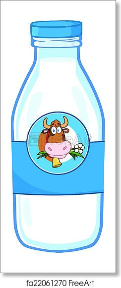 Free art print of Milk Bottle With Cow Head Label
