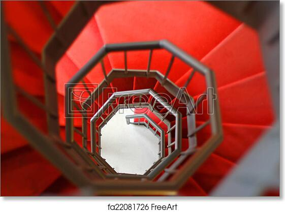 Free art print of Gidy steep spiral staircase with red carpet