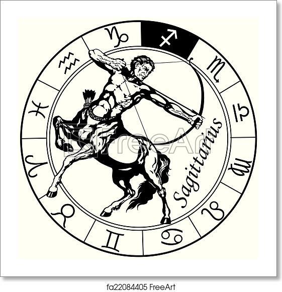 Free art print of Sagittarius zodiac black white ...