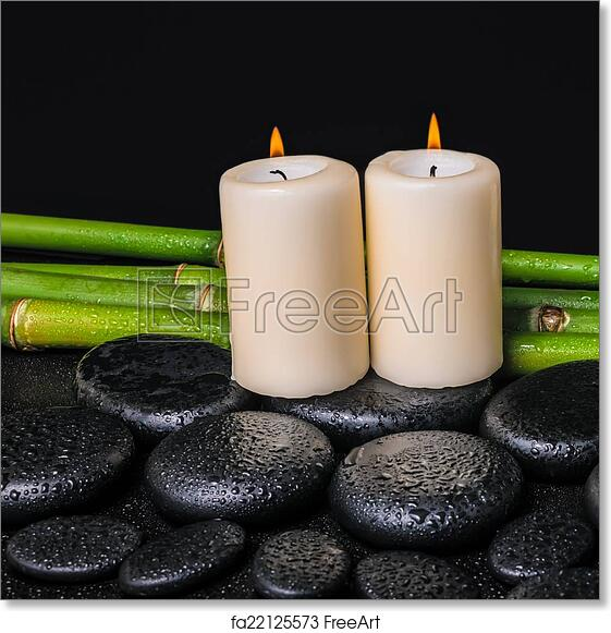 free art print of spa concept of zen basalt stones candles and