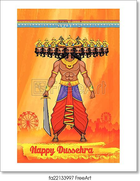 free art print of ravan in dussehra advertisment and promotion