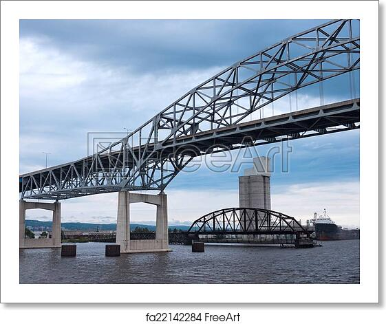 Free art print of Duluth Harbor Bridges on Lake Superior