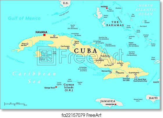 picture regarding Printable Map of Havana named Totally free artwork print of Cuba Political Map