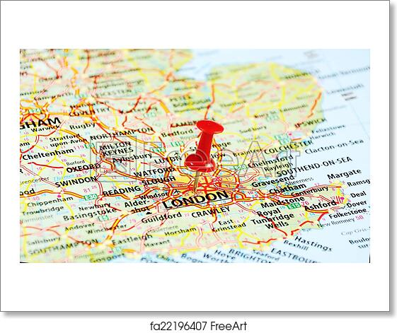 London Free Map.Free Art Print Of London Uk Map Pin