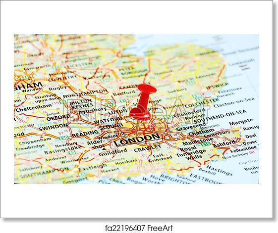 Uk London Map.Free Art Print Of London Uk Map Pin