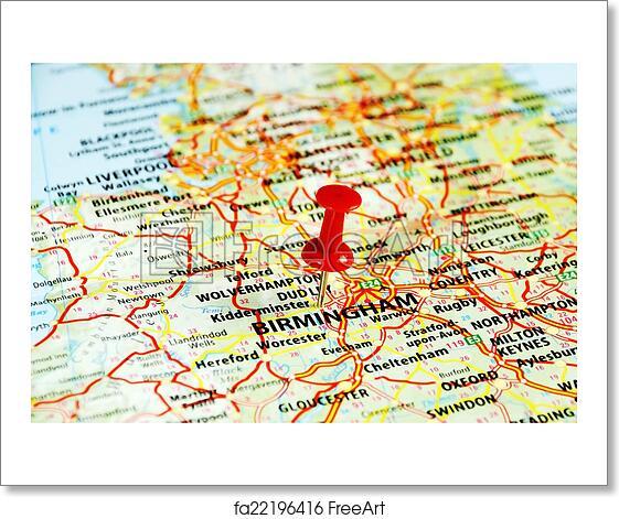 Map Of Uk Birmingham.Free Art Print Of Birmingham Uk Map Close Up Of Birmingham United