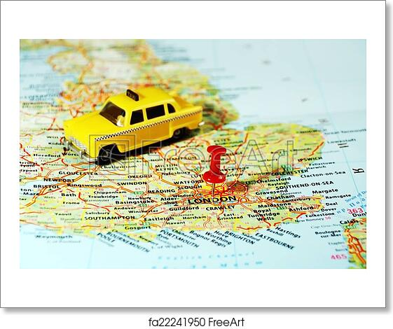 Free art print of London, UK map pin taxi