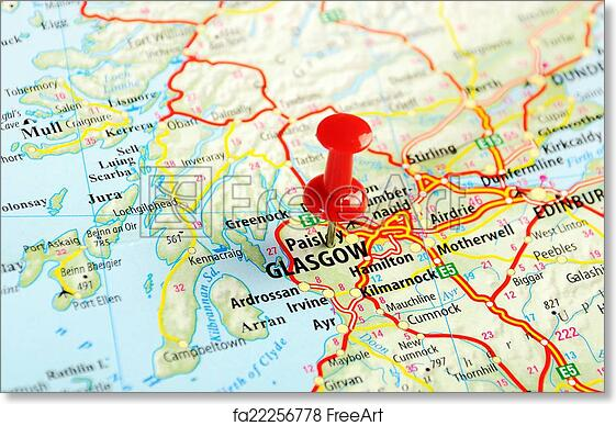 graphic about Printable Map of Scotland titled Cost-free artwork print of Glasgow Scotland; Perfect Britain map