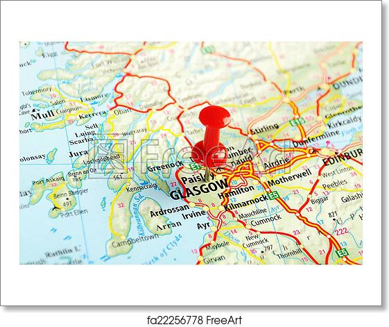 Map Of Uk And Scotland.Free Art Print Of Glasgow Scotland Great Britain Map