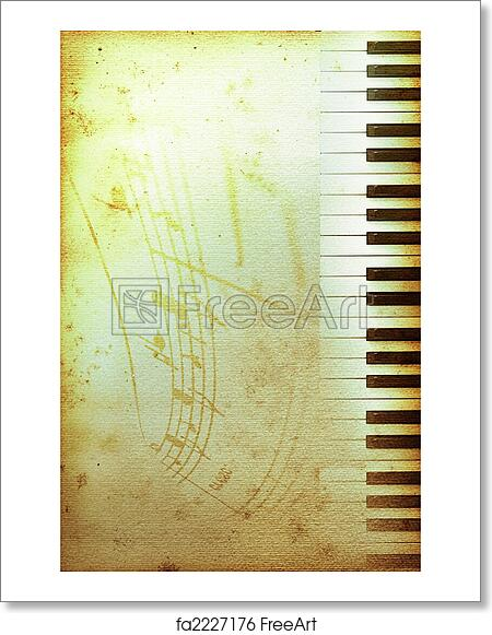 free art print of old piano paper old mouldy piano blues or jazz