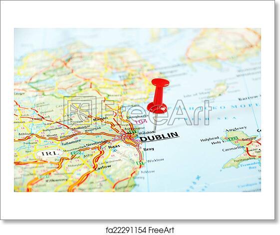 Free art print of Dublin Ireland ,United Kingdom map. Dublin Ireland Dublin Ireland Map on