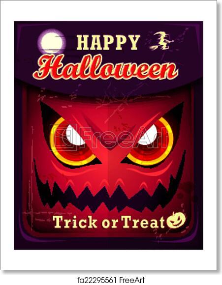 free art print of vintage halloween poster design freeart fa22295561