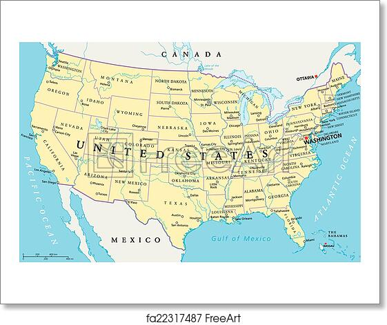 A Political Map Of The United States.Free Art Print Of United States Of America Map United States Of