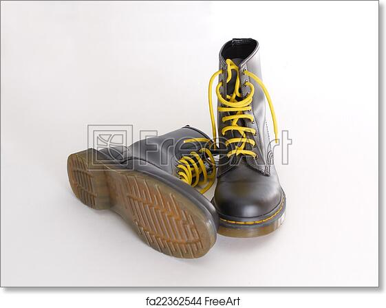 Free art print of Classic black lace,up boots with yellow laces