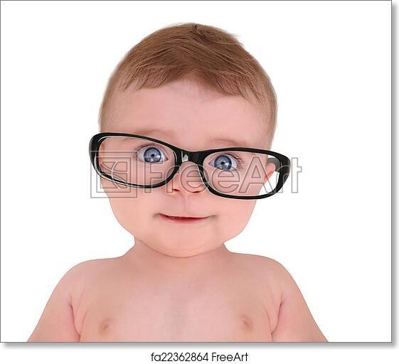 Free Art Print Of Little Baby Wearing Eye Glasses On White Background