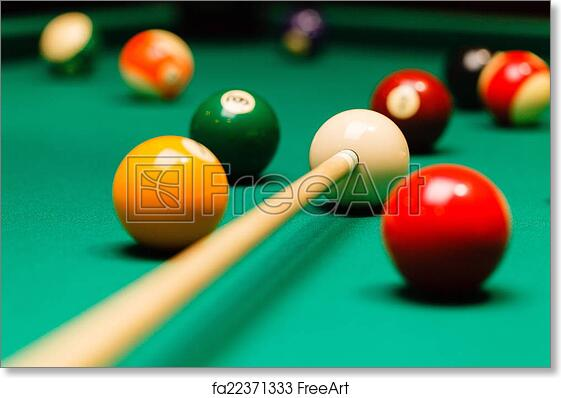Free Art Print Of Billiard Balls In A Pool Table. | FreeArt | Fa22371333
