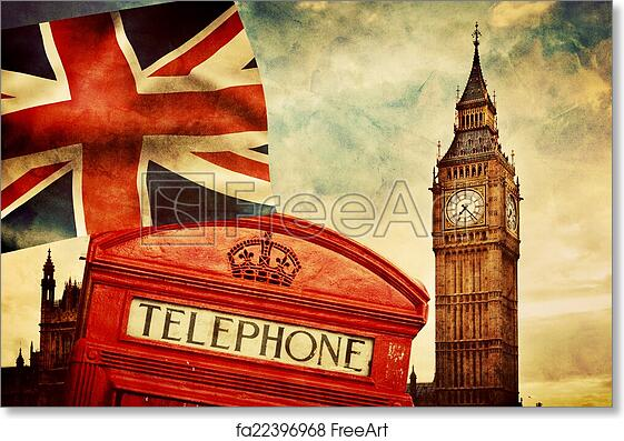 Free Art Print Of Symbols London England The UK Red Phone Booth Big Ben Union Jack Flag