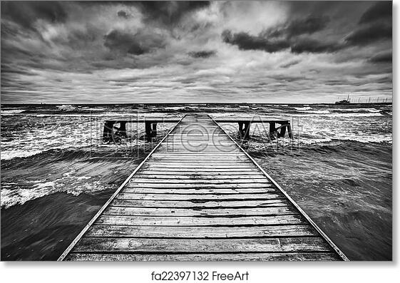 Free art print of old wooden jetty during storm on the sea dramatic sky with dark heavy clouds