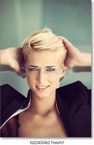 Free Art Print Of Short Hair Blonde Woman Smiling Young Blue Eyes