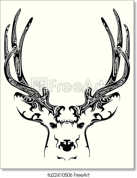image about Printable Deer Head referred to as Totally free artwork print of Summary deer thoughts tribal tattoo