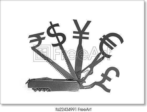 Free Art Print Of Swiss Knife With Different Currency Symbols