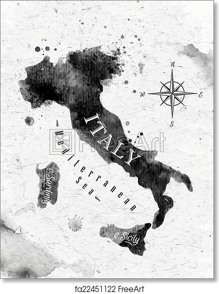 Italy Map Black And White.Free Art Print Of Ink Italy Map Ink Italy Map In Vector Format