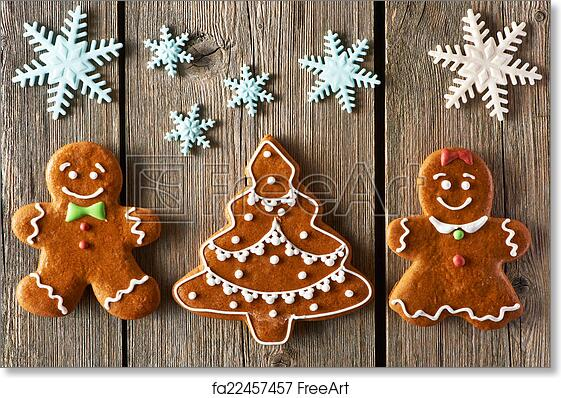 Free Art Print Of Christmas Gingerbread Couple And Tree Cookies