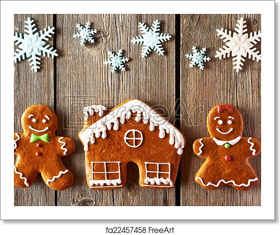 Free Art Print Of Christmas Gingerbread Couple And House Cookies