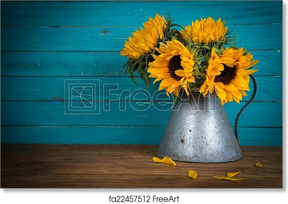Free Art Print Of Sunflower In Metal Vase Fresh Flowers Rustic Antique On Wooden Table And Background