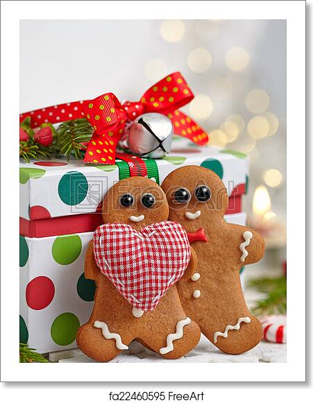 free art print of christmas decorations with gingerbread man