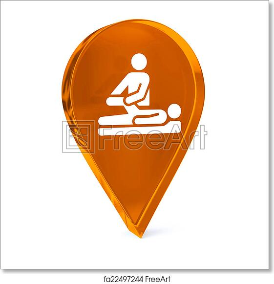 Free Art Print Of Physical Therapy Glass Gps Marker Icon With White