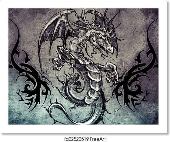 Free art print of medieval dragon tattoo design over grey for Medieval dragon tattoo