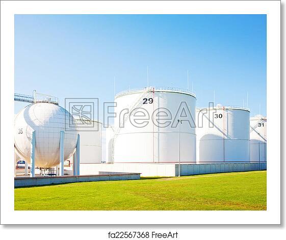 Free art print of Oil storage tanks
