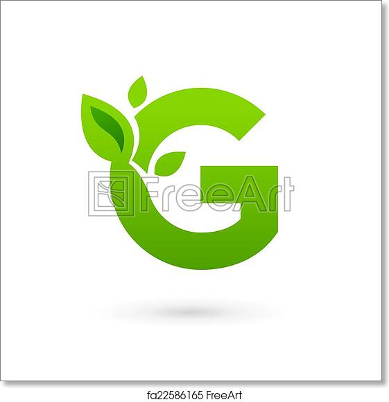 free art print of letter g eco leaves logo icon design template elements