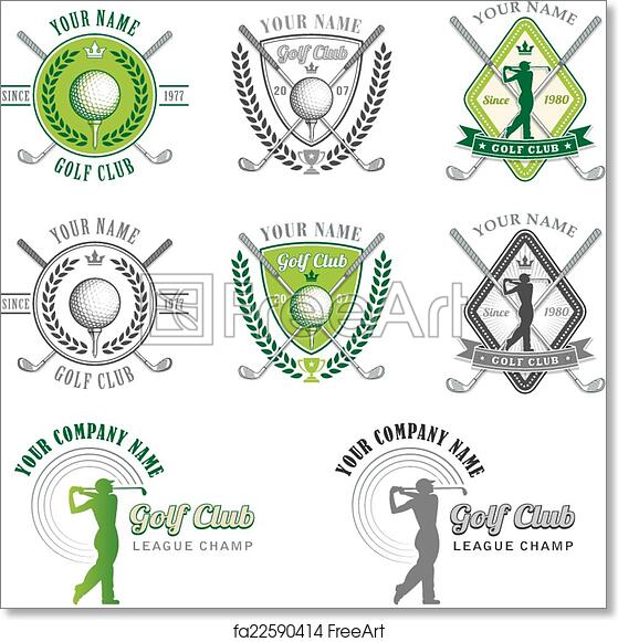 Free Art Print Of Green Golf Club Logo Designs 8 Colorful Logos And Placards For Golf Club Organizations Or Tournament Events Vector File Is Organized With Layers For Ease Of Editing