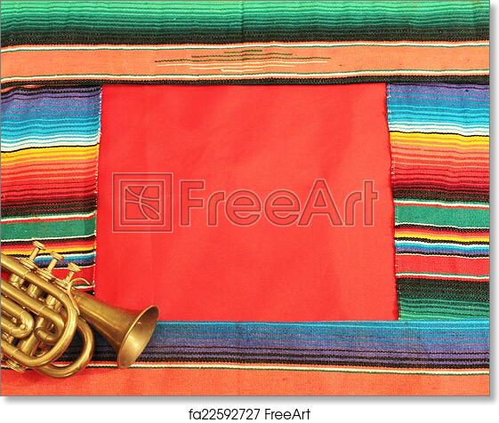 Free art print of Mariachi frame Mexico fiesta poncho rug in bright stripe  trumpet background with copy space