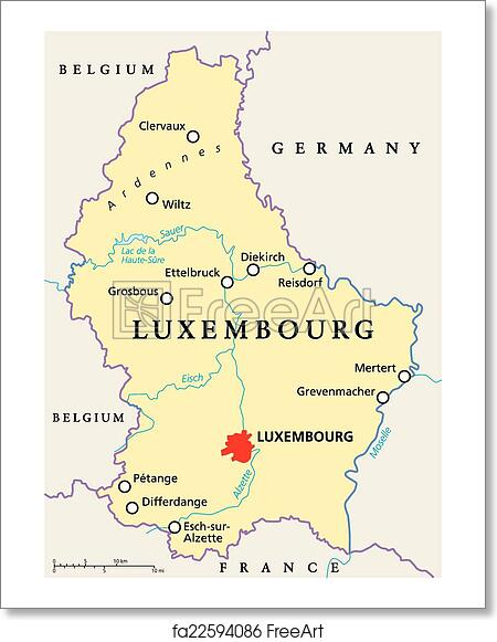 Free art print of Luxembourg Political Map