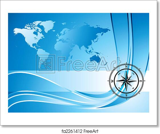 Free Art Print Of Compass Background Blue Background With Compass