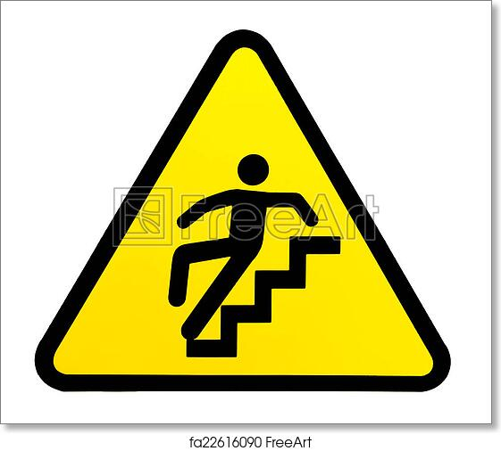 free art print of sign warning for slippery stairs when wet