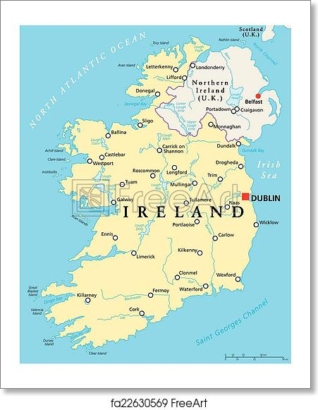 Map Of Ireland With Rivers.Free Art Print Of Ireland Political Map