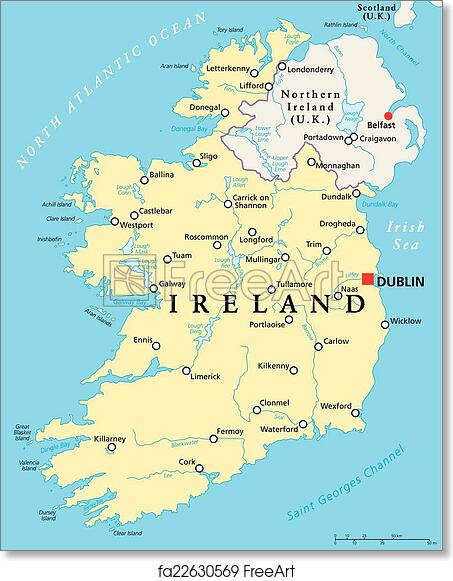 Map Of Ireland Poster.Free Art Print Of Ireland Political Map Ireland Political Map With