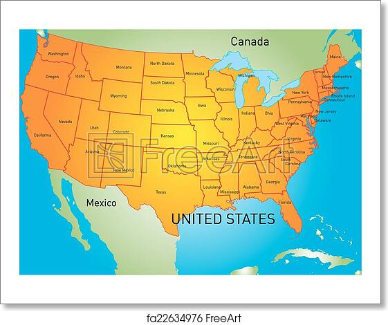 Free art print of USA map. Vector color map of USA | FreeArt ... Color Map Of Usa on